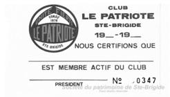 Carte de membre des Raquetteurs de Sainte-Brigide
